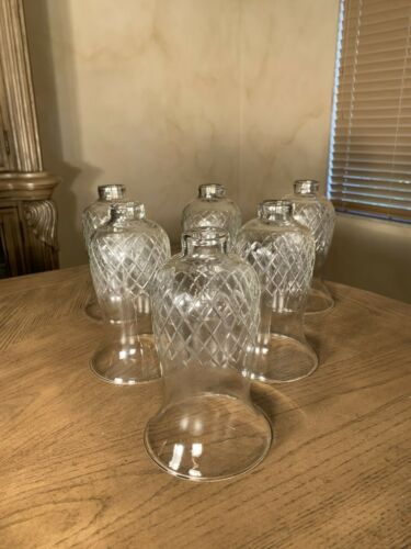 BEAUTIFUL OLD 6 CUT GLASS HURRICANE SHADES