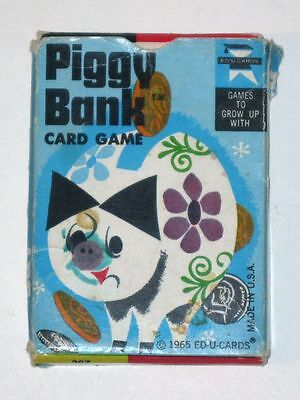 Vintage 1965 PIGGY BANK Card Game in Original Box! Ed-U-Cards!