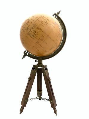 Vintage / Antikes Stil Weltkarte Globus Ornament auf Holz und Messing