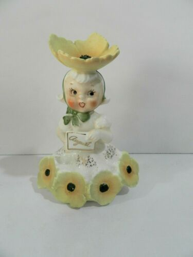Vintage Girl Figurine August Birthday Poppy  C1931 Napco Japan