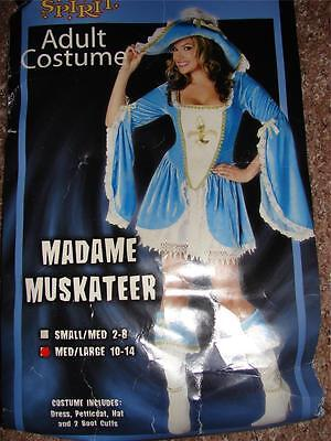 Sexy Madame Muskateer Blue Dress Hat Boot Cuffs Costume Party Womens M L 10-14](Muskateer Costume)