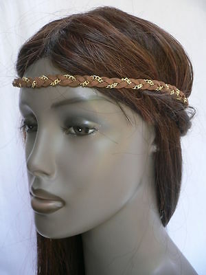 New Women Elastic Band Forehead Fashion Brown Head Chain Jewelry Gold Metal