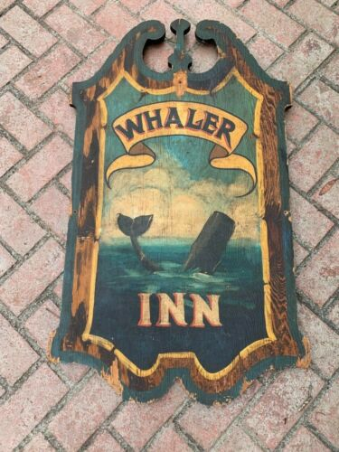 Vintage Whaler Inn Wood Sign Whale Nautical Cape Cod Ocean Great Patina