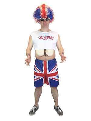 Erwachsene Herren Lustig Britische Flagge Union Jack Groß Brüste Kostüm
