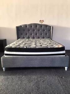 Brand New EURO DESIGN Grey Fabric Queen Bed (EH1102) Clayton South Kingston Area Preview