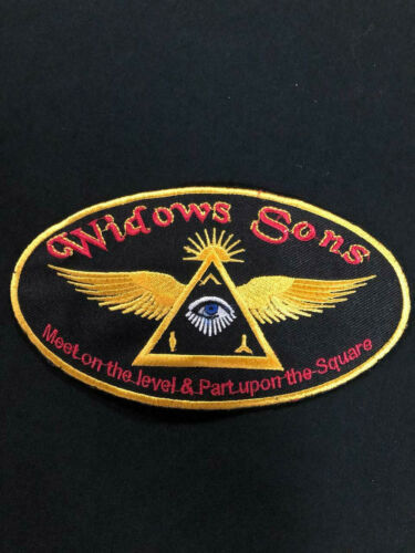 WIDOWS SONS PATCHES 7 INCHES, MASONIC AND WIDOWS SONS PATCH, MASONIC BIKER PATC