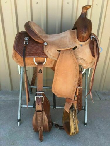 """New Western Natural & Brown Leather Strip Down Roper Ranch Saddle 14"""" To 18"""""""