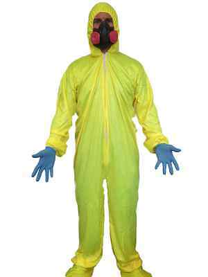Breaking Chemist Bad Yellow Hazmat Suit Costume Fancy Dress Walter White Mask