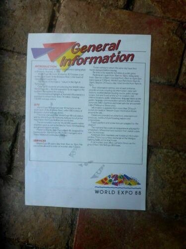 WORLD EXPO 88 GENERAL INFORMATION 4 PAGE BROCHURE A4 SIZE