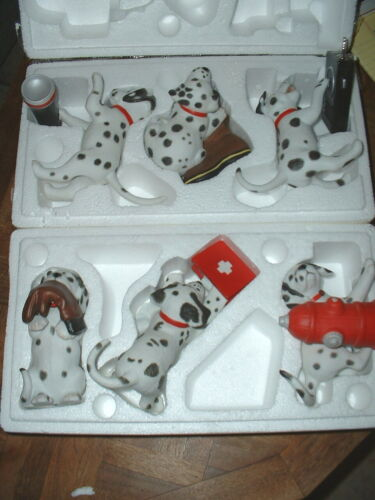 6 Piece Princeton Gallery Dalmatian Collection Firefighter Theme Dog Figurines
