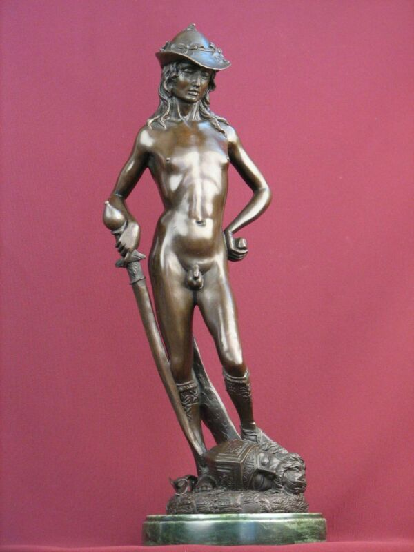 SIGNED BRONZE CLASSIC SCULPTURE NUDE MALE ART HIGHLY DETAILED STATUE ON MARBLE