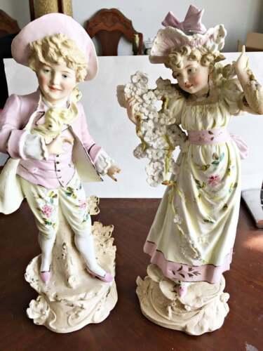"Vintage German Bisque Figurines ""G"" Graphental 16"" high"
