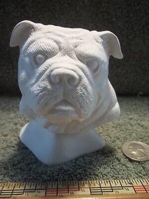 BullDog Head Bust Ceramic Bisque U-Paint Ready To Paint English Bulldog Dogs