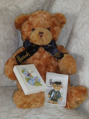 Harrod's Brown Teddy Bear With Black Ribbon + Bear Magnet