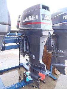 Used 1990 yamaha 90etld 90hp 2 stroke outboard boat motor for Yamaha 90hp 4 stroke weight