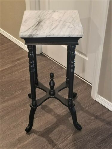 VINTAGE VICTORIAN BLACK MAHOGANY PLANT FERN STAND TABLE MARBLE TOP 2 available