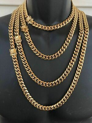 - HARLEMBLING 10mm Mens Miami Cuban Link Chain 14k Gold Plated HEAVY 18