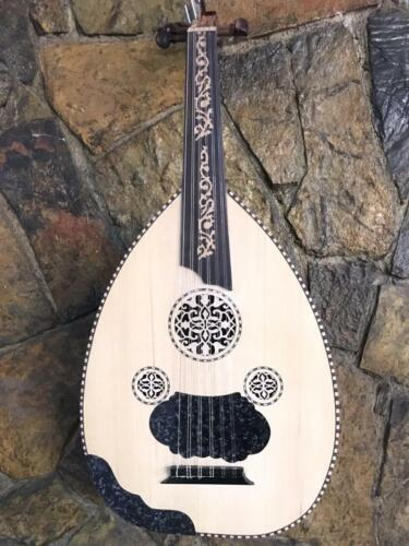 Turkish Acoustic Oud Handmade Pearl Engraved Wood HQ Lute Original Size + Case