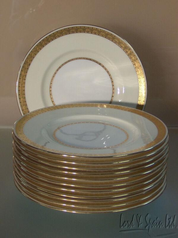 12 Vintage Minton EMBASSY Gold Encrusted Dinner Plates-K108