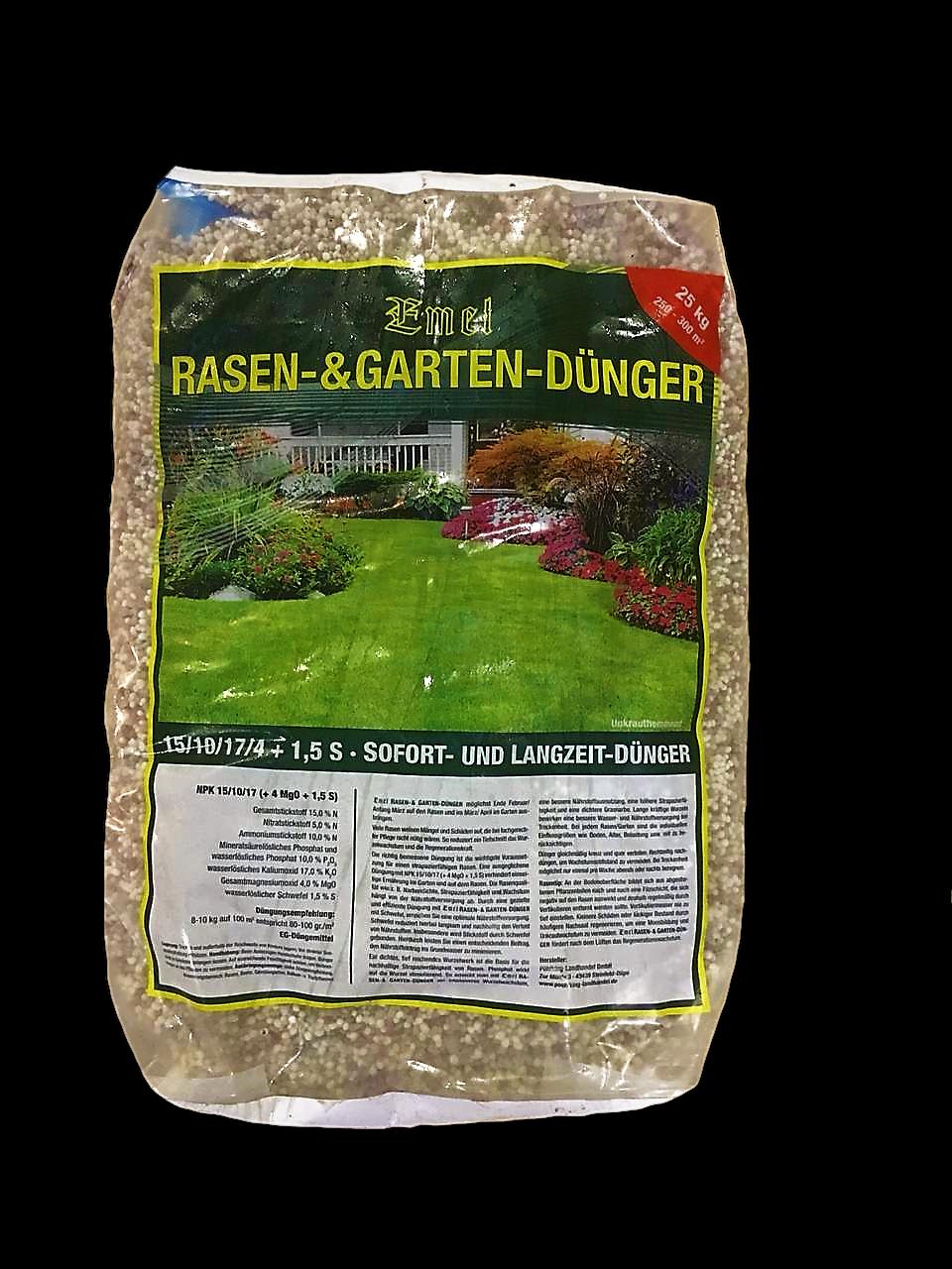 Rasendünger 25 kg NPK 15+10+17+4 Mg0+1,5 S EMEL Sofort-& Langzeitdünger