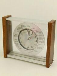 Mid Century Verichron World Time Zone Airplane Hand Walnut Desk Mantle Clock
