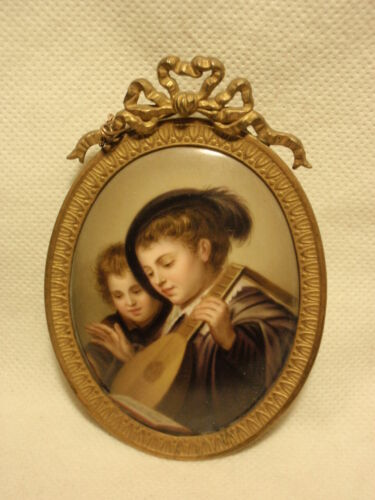 Antique Hand Painted Porcelain Portrait of Musician Brass Frame Brooch Pinback