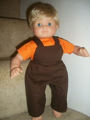 Bitty Baby Twin boy overall Set Orange Brown doll clothes Fall Halloween