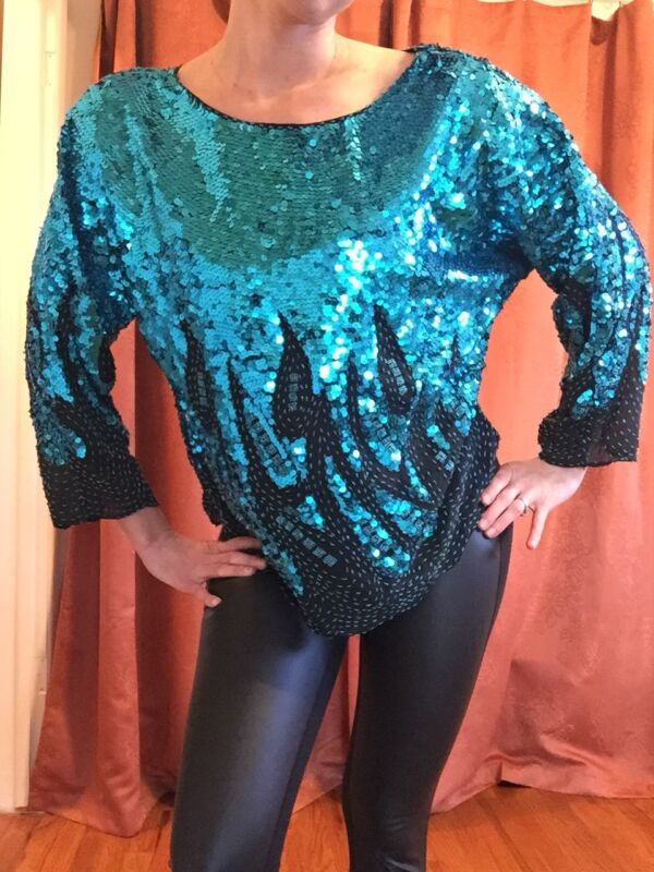 Vintage 1980S Sequence Beaded Blue Top Women Size Large
