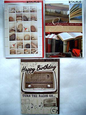 **Doppelkarte*Happy Birthday*Männer~Geburtstag*Steine*Bücher* ()