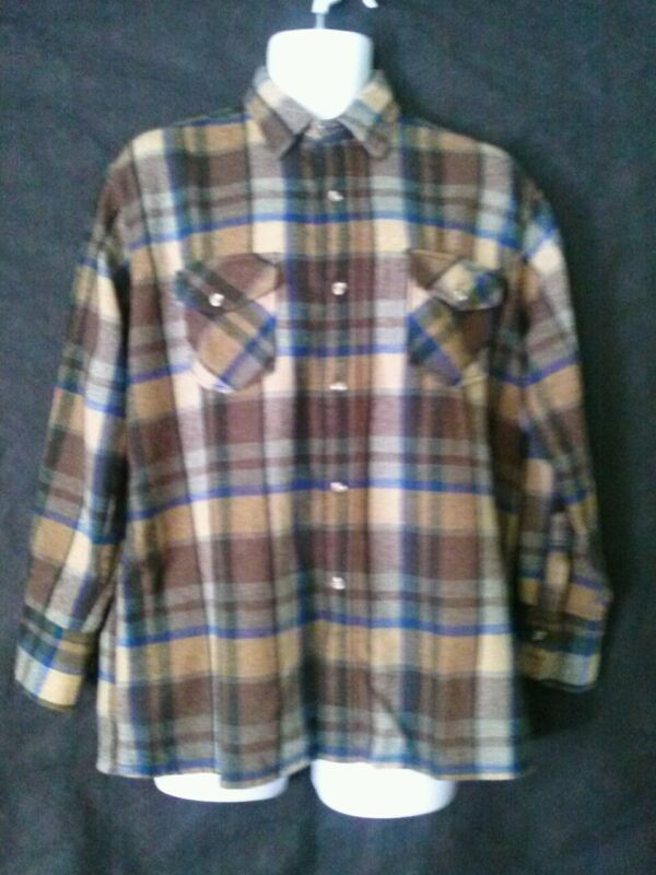 Monterey L Men's Shirt: Brown & Blue Plaid Wool & Nylon Long Sleeved  Jac-Shirt