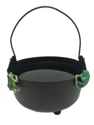 Witches Black Cauldron w/ Lizard & Frog Pot Hangers-Halloween Decor-14