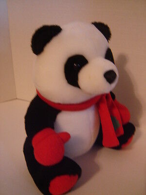 "BLACK AND WHITE CHRISTMAS BEAR MADE FOR HALLMARK LARGE 11"" SITTING TEDDY BEAR"