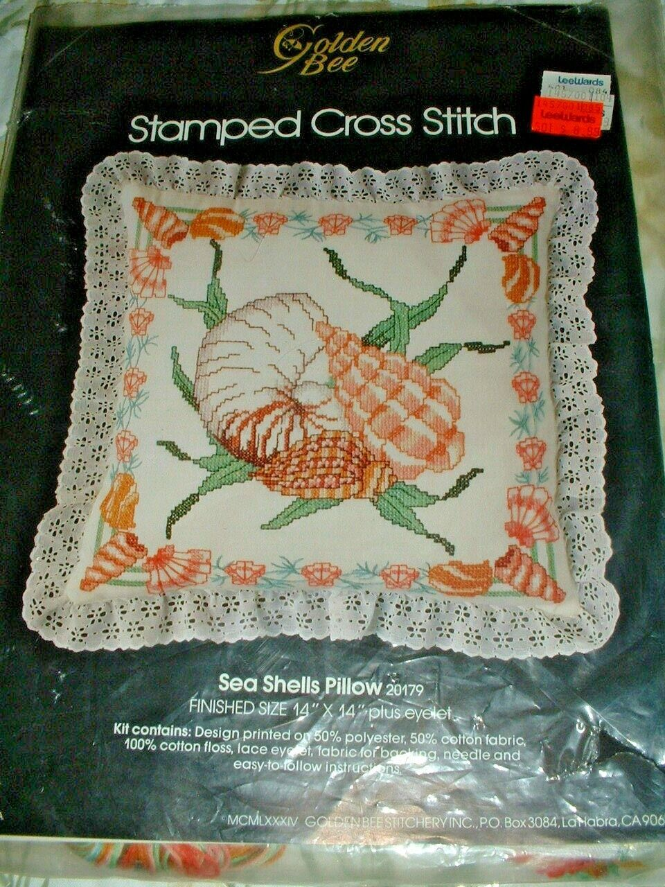 "Stamped Cross Stitch Kit ""SEA SHELLS"" 1984 Golden Bee Stitch"
