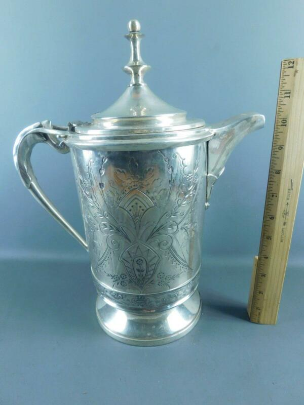ANTIQUE ORNATE VICTORIAN  AESTHETIC SILVER PLATED MERIDEN ICE WATER PITCHER