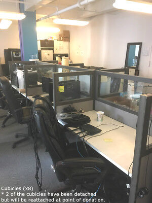 38-pc Office Furniture Lot (desks, chairs, bookshelves, credenza, cabinets) ()