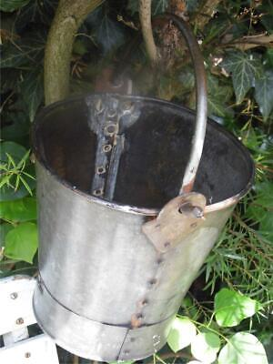 BEAUTIFUL CHARACTERFUL WROUGHT IRON BUCKET PAIL WITH RIVET DETAIL HOME GARDEN