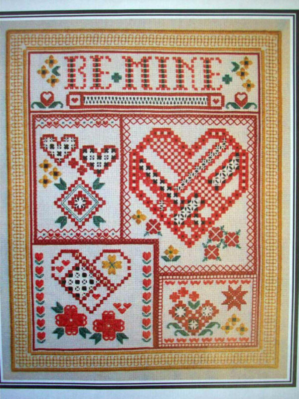 Be Mine Hearts embroidery Hardanger satin stitches Hardangerson pattern