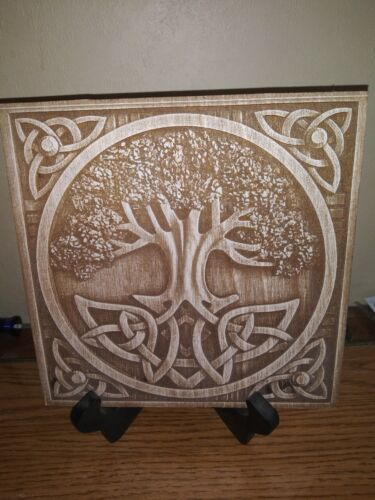 TREE OF LIFE Plaque Laser Engraved Wood Pagan Wiccan ALTAR