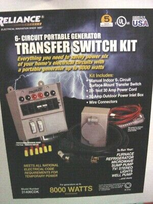 Reliance Controls Manual Transfer Switch 306cdkn 6 Circuitnew 20ft Cord