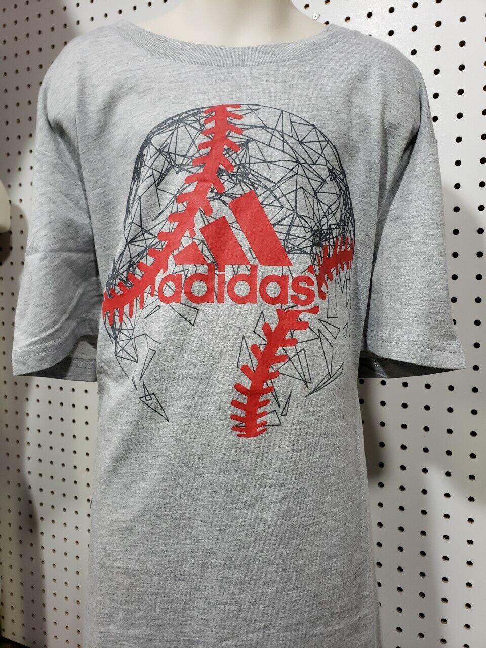 Boys Kids Youth ADIDAS Shirt NEW Grey short sleeve Size XL