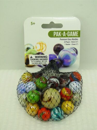 PAK-A-GAME-Net Bag Of 24 Player Mega Fun Marbles -1 Shooter-Instructions & Facts
