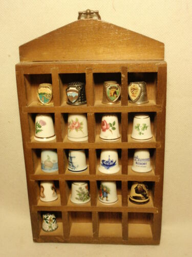 Lot of 17 Collectible Thimbes in Wooden Wall Display Case