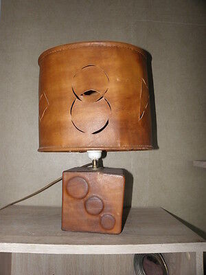 Vintage lamp desk Leather lamp retro light adnet Bedroom Living Room Side Table