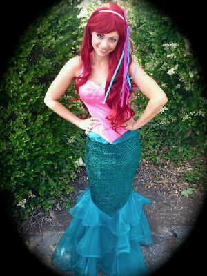 Little Mermaid Ariel Adult Womens Costume One-piece Halter Cosplay Size M/L](Mermaid Costume Womens)
