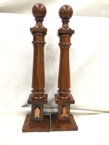 Masonic Wood Columns Senior Warden and Junior Warden emblems sold as Pair, Maso