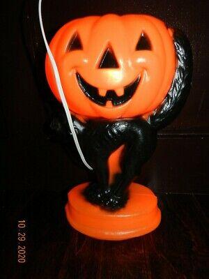 "Halloween Pumpkin Jack-O-Lantern Black Cat Trick or Treat Blow Mold Vintage 14"""