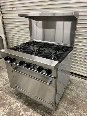 New 36 6 Burner Range Gas Oven Stratus Sr-6 7227 Commercial Stove Nsf Open