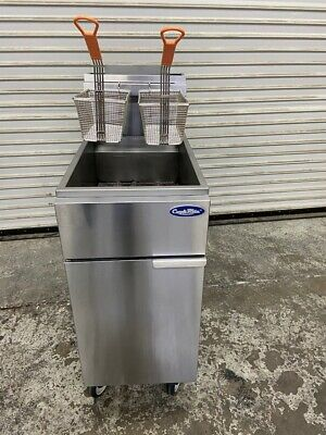 40 Lb Deep Fryer Nat Gas On Wheels Stainless Nsf New Baskets Atosa Atfs40 5465
