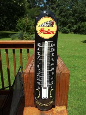 INDIAN MOTORCYCLE HENDEE MANUFACTURING CO SPRINGFIELD MASS PORCELAIN THERMOMETER