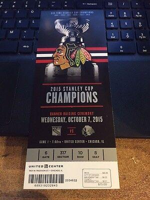 2015 CHICAGO BLACKHAWKS CUP BANNER RAISING TICKET STUB ARTEMI PANARIN DEBUT 10/7